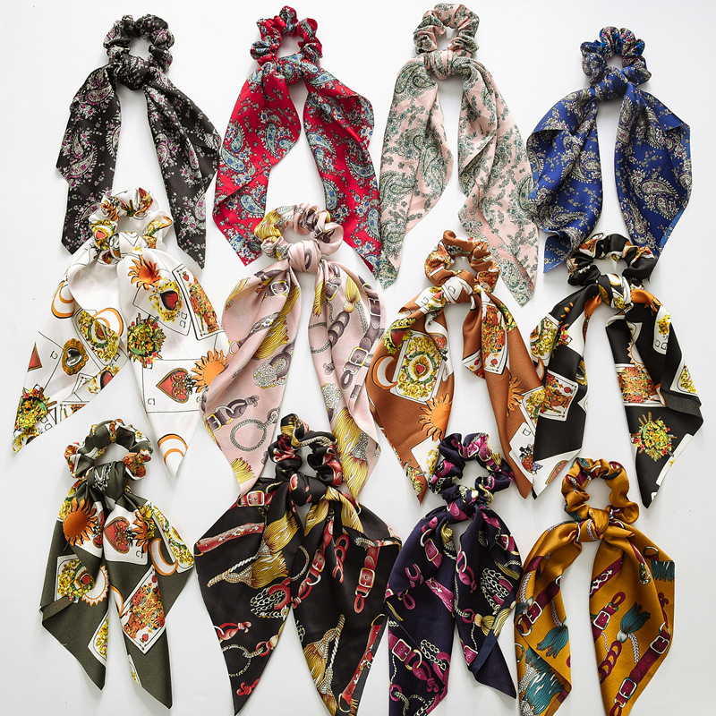 Fashion Ponytail Scarf Elastic Hair Rope For Women Hair Bow Ties Scrunchies Hair Bands Flower Printed Ribbon Hairbands Headwear