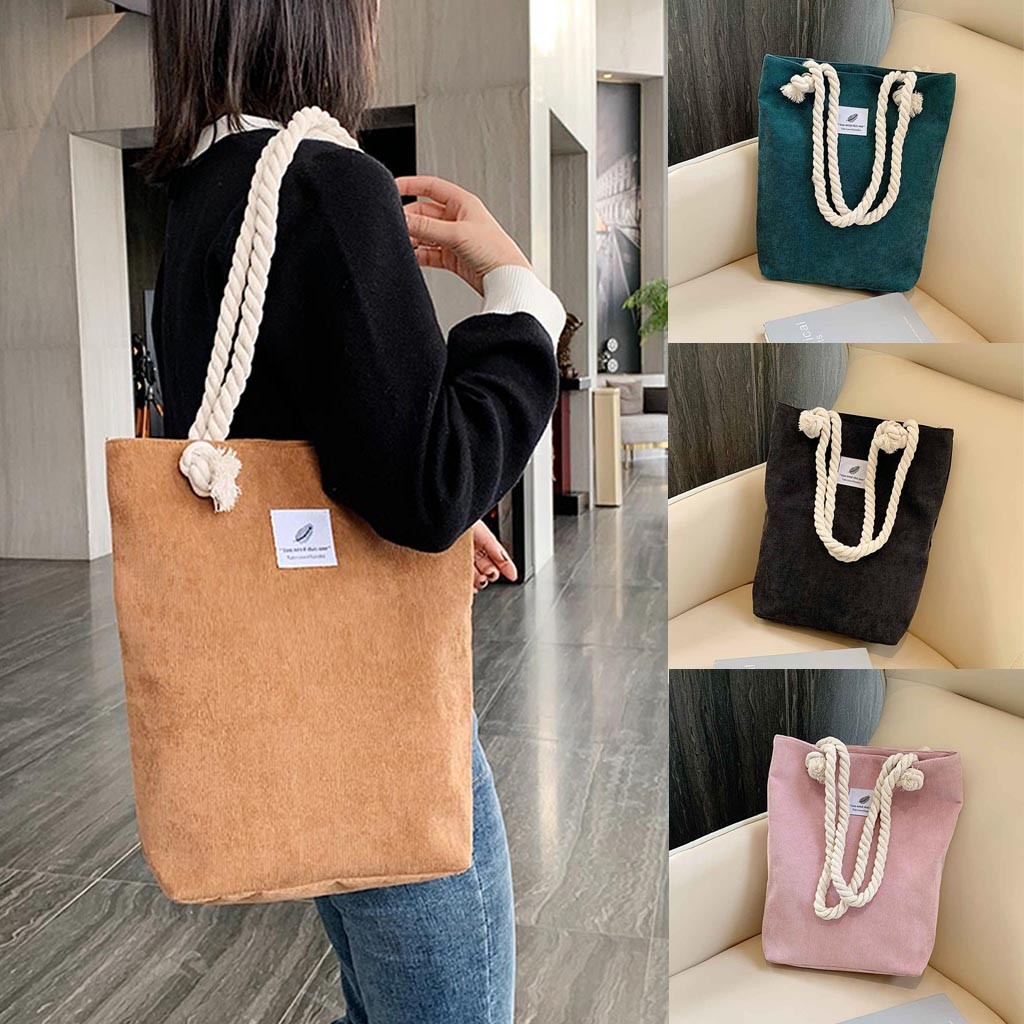 Women Corduroy Shopping Bag Canvas Cloth Shoulder Bag Environmental Storage Handbag Reusable Foldable Eco Grocery Totes#G1