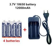 Bateria recarregável para lanterna, bateria recarregável de 18650 v, 3.7 e 18650 mah, capacidade de li-ion, bateria recarregável para lanterna + carregador