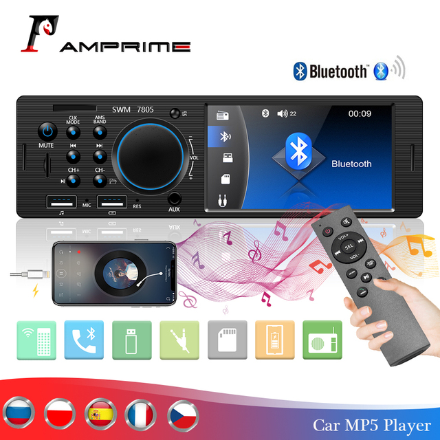 "AMPrime 1Din Autoradi 4.1"" TFT Car Stereo Radio Bluetooth FM Radio USB/AUX/ Remote Control Audio MP4 MP5 Player With Rear Camera"