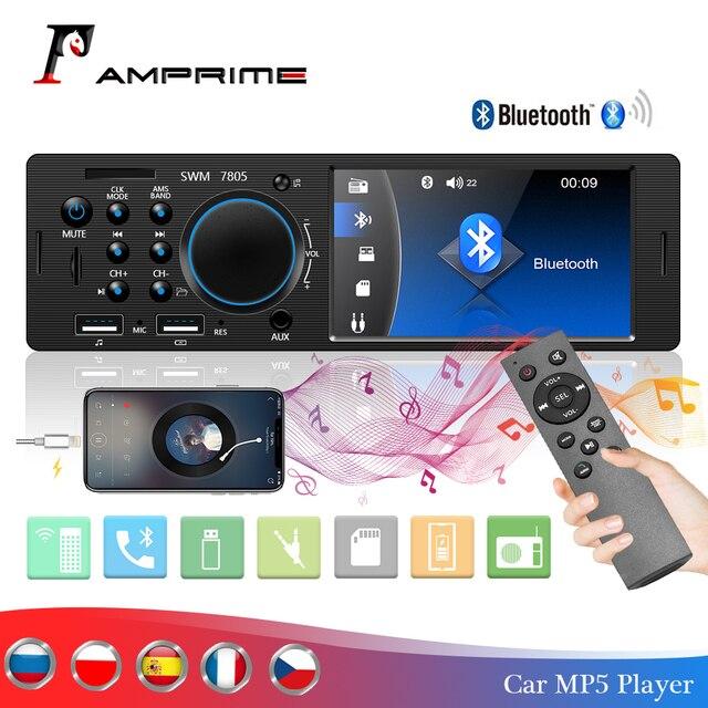 AMPrime 4022D 4.1 หน้าจอดิจิตอล 1Din วิทยุสนับสนุนวิทยุ USB AUX FM BT รีโมทคอนโทรลพวงมาลัยย้อนกลับกล้อง