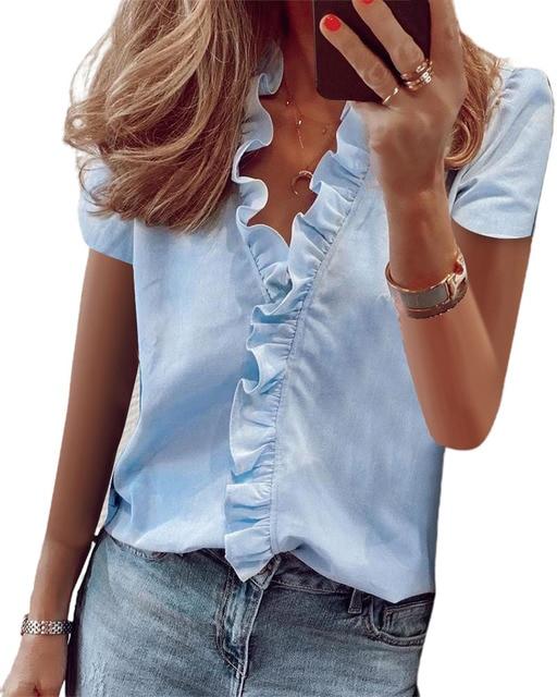 Hirigin 2020 Fashion Summer Ladies Temperament Flouncing Short Sleeve Blouse Sweet Printing Solid Top Casual Shirt Clothing 4