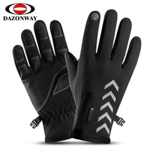 1Pair Men Fishing Gloves Autumn Winter Waterproof Slip Five Finger Touch Screen Night Riding Running Reflective Ski XXL