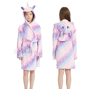 Kigurumi szlafrok dla dzieci szlafrok dla dziewczynek koszula nocna jednorożec z kapturem szlafroki dla chłopców dziewcząt ubrania koszula nocna dla dzieci bielizna nocna tanie i dobre opinie YSOYOK Poliester CN (pochodzenie) 100-160cm Pasuje prawda na wymiar weź swój normalny rozmiar Flanelowe Unisex Zwierząt