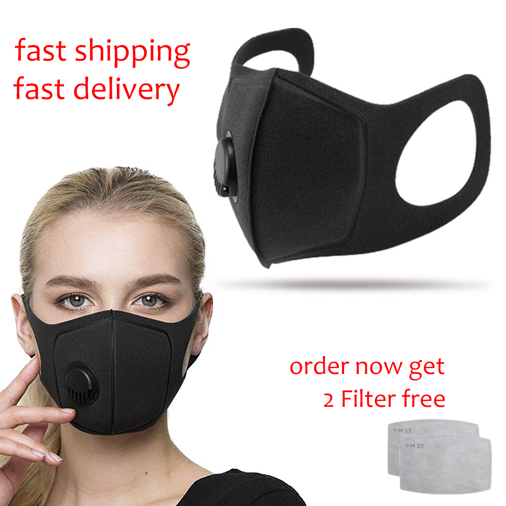 Women Unisex Dustproof 3D Mask Sponge Earloop Anti-haze PM2.5 Filtration Respirator Masks Activated Filter Face Shield