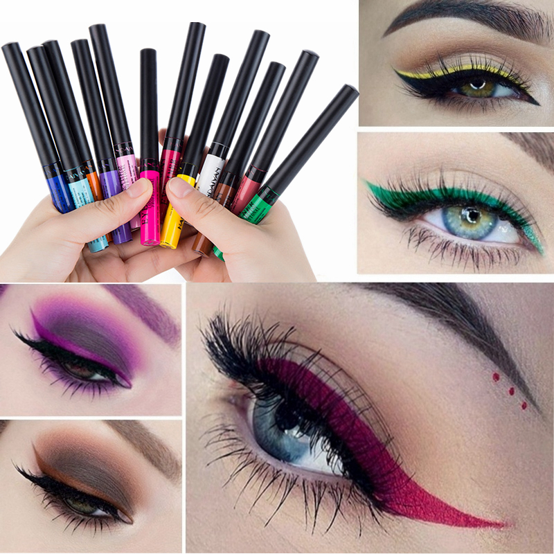 12 Color Eyeliner Liquid Waterproof Easy To Wear Make Up Matte Eyeshadow Eye Liner Blue Red Green White Sexy Charming Eyliner