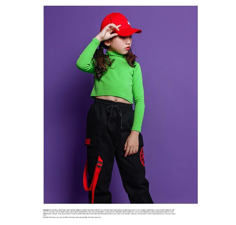 Fashion Children Jazz Dance Costume For Girls Hip Hop Street Dancing Costumes Crop Top Pants Kids Performance Dance Clothes (10)