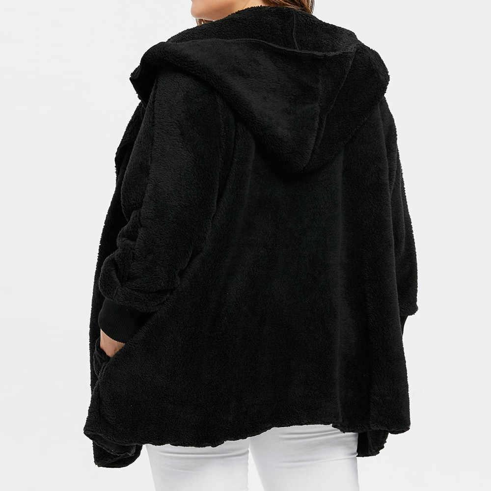 JAYCOSIN 2019 Yeni Taklit Kürk Ceket Parkas Hood Ile Yüksek Bel Moda Ince Siyah Beyaz Faux Kürk Ceket Sahte Kürk oyuncak Ceket Z0823