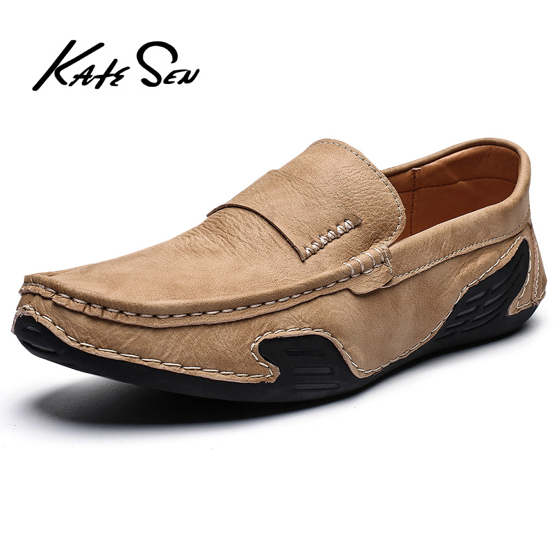 KATESEN Men Leather Casual Shoes Moccasins male Handmade shoes Brand Fashion Men shoes Breathable Driving Shoes Size 38-46