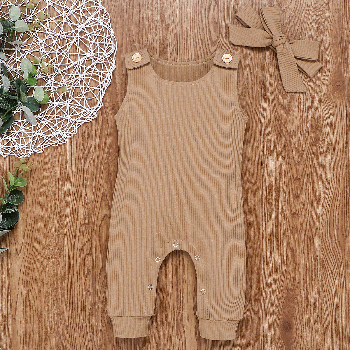 Pudcoco Newborn Baby Boy Girl Clothes Solid Color Sleeveless Knitted Cotton Romper Jumpsuit Headband 2Pcs Outfits Clothes