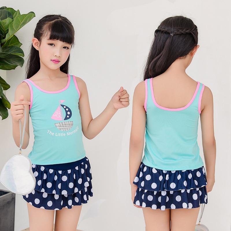 20118 New Style Children Two-piece Swimsuits Girls Princess Dress-Boxers Big Boy Swimwear Nt57100