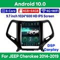 Автомобильный GPS-навигатор с вертикальным экраном 9,7 дюйма, Android 10, для JEEP Cherokee 2014-2019, радио, стерео, BT, мультимедийный плеер Carplay