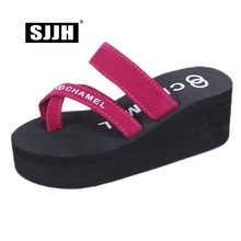 SJJH Woman Summer Slides Wedges Sandals Flock Footwear Platform Outdoor Toe Slippers Fsahion Casual Shoes A1359