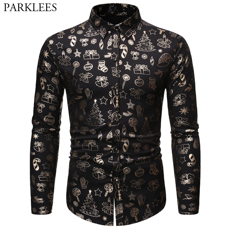Mens Christmas Shirt Casual Slim Fit Men Shirts Bronzing Black Shirt Mens Printed Long Sleeve Button Up Shirt Men Camisas Hombre 1