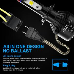 Image 4 - ナオH7 led H4 H11 HB4 9006 9005 HB3 H1 H8車ヘッドライト電球cob smd 6000 18kホワイト30ワット12v H3 H13 9007 9004自動車の付属品