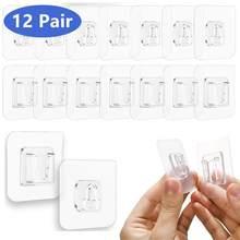 6/12 pares de dupla face adesivo gancho de parede de cozinha gancho de armazenamento de parede forte transparente otário para cozinha banheiro ganchos