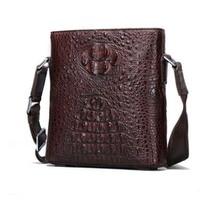 langhao Single shoulder bag crocodile leather Men's bags business Inclined shoulder bag Vertical type square Men's bags