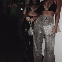 ArtSu Fashion High Waist Bling Sequin Silver Pants Women Night Club Party