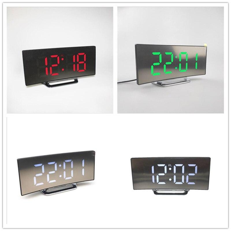 Цифровой светодиодный будильник с зеркалом, многофункциональные настольные часы с функцией повтора и светящимся в ночи ЖК дисплеем, кабелем USB|Будильники|   | АлиЭкспресс