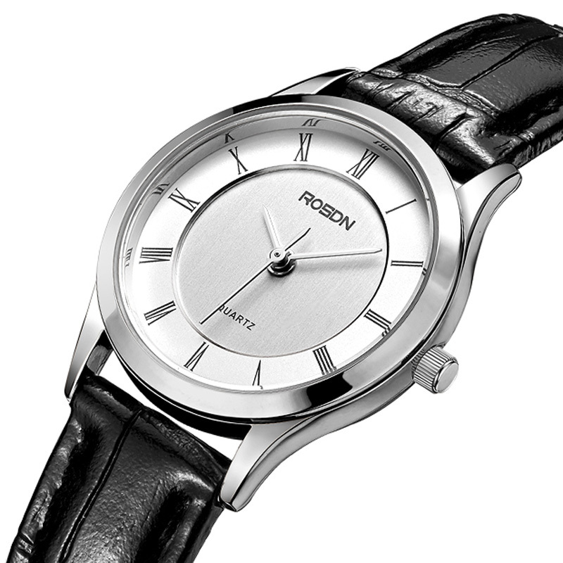Luxury Brand ROSDN Couple's Watches Japan Quartz Movement Women's Watches 7 mm Ultra thin Watch Waterproof Leather Clock R3212W
