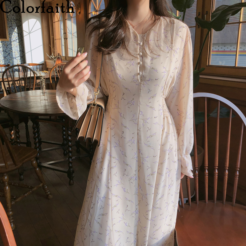 Colorfaith New 2020 Women Summer Dress Casual V-Neck Puff Sleeve Chiffon High Waist Print Floral Fashionable Long Dress DR1205