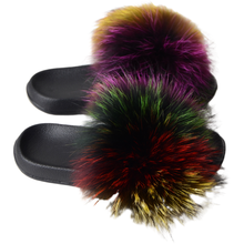 Qiming Women's Shoes Faux Raccoon Fur Slippers Faux Fur Slides Flat Indoor Flip