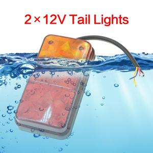 1 Pair 12V LED Waterproof Car Truck LED Rear Tail Light Warning Lights Rear Lamp Trailer Light For Campers ATV Truck Accessories