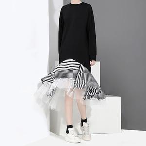 Image 2 - חדש 2020 סתיו ארוך שרוול אישה שחור חצוצרת שמלת טלאים לפרוע אופנתי נמתח גבירותיי חמוד Midi מקרית שמלת חלוק 2048