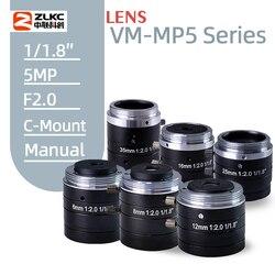 5MP z manualną przysłoną obiektyw 4mm  6mm  8mm  12mm 16mm 25mm 35mm 50mm 75mmFixed ogniskowej F2.0 1/1. 8 Cal C mocowanie lekka maszyna Vision soczewki w Zestawy systemów alarmowych od Bezpieczeństwo i ochrona na