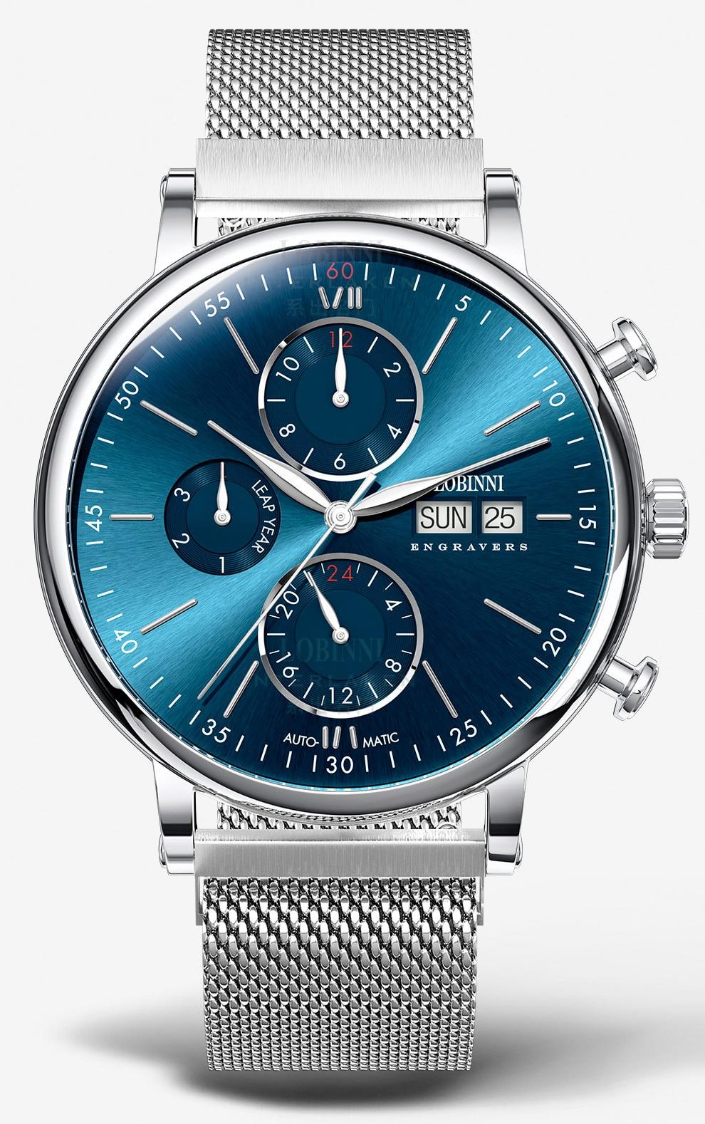 Hd17ecca9d93541ec9ac283597cff37c0P Switzerland LOBINNI Men Watches Luxury Brand Perpetual Calender Auto Mechanical Men's Clock Sapphire Leather relogio L13019-6