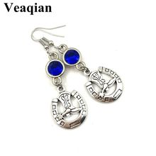 2019/ new hollow ladies high heels U-shaped Horseshoe-shaped birthstone earrings, personalized pendant earrings.