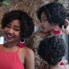 Perruque Afro naturelle courte, coupe Pixie, cheveux bouclés, coupe au carré