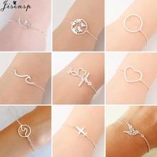Bracelets en acier inoxydable pour femmes, chaîne ajustable, breloque Simple, carte du monde, coeur patte, cadeau d'amitié