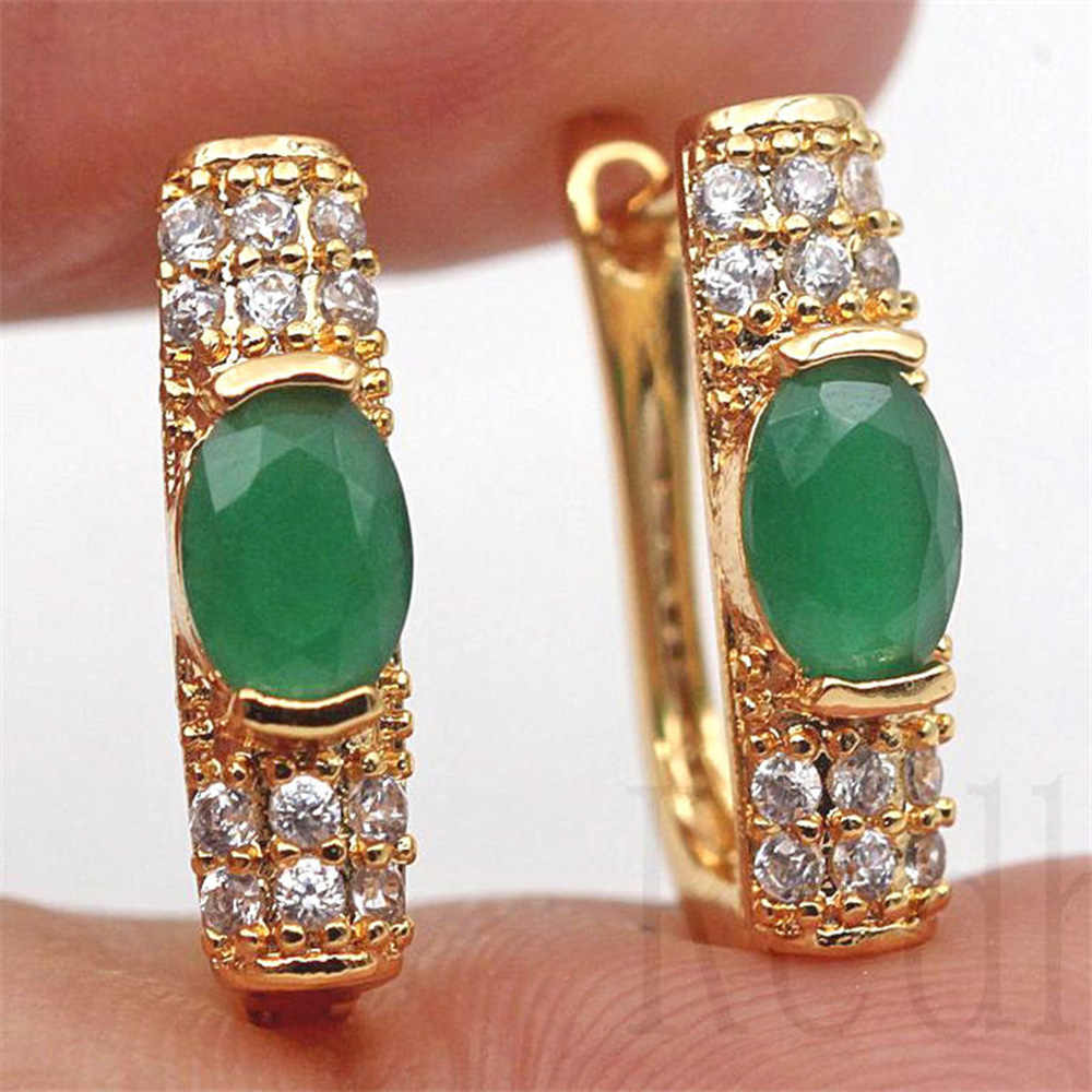 Luxury Hoop Earrings Gold Filled Rainbow Red Green Zircon Earring Vintage Jewelry for Party Wedding Anniversary Engagement Gift