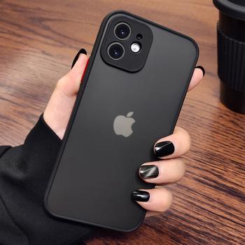 Luksusowe matowe przezroczyste etui na telefon iPhone 11 12 Pro XS Max Mini X XR 8 7 6 6S Plus SE 2 ochrona aparatu odporna na wstrząsy tanie i dobre opinie YOACHEY APPLE CN (pochodzenie) Fitted Case Matte Transparent Phone Cases Zwykły Hard PC + Soft TPU Silicone Black red Navy blue Black green