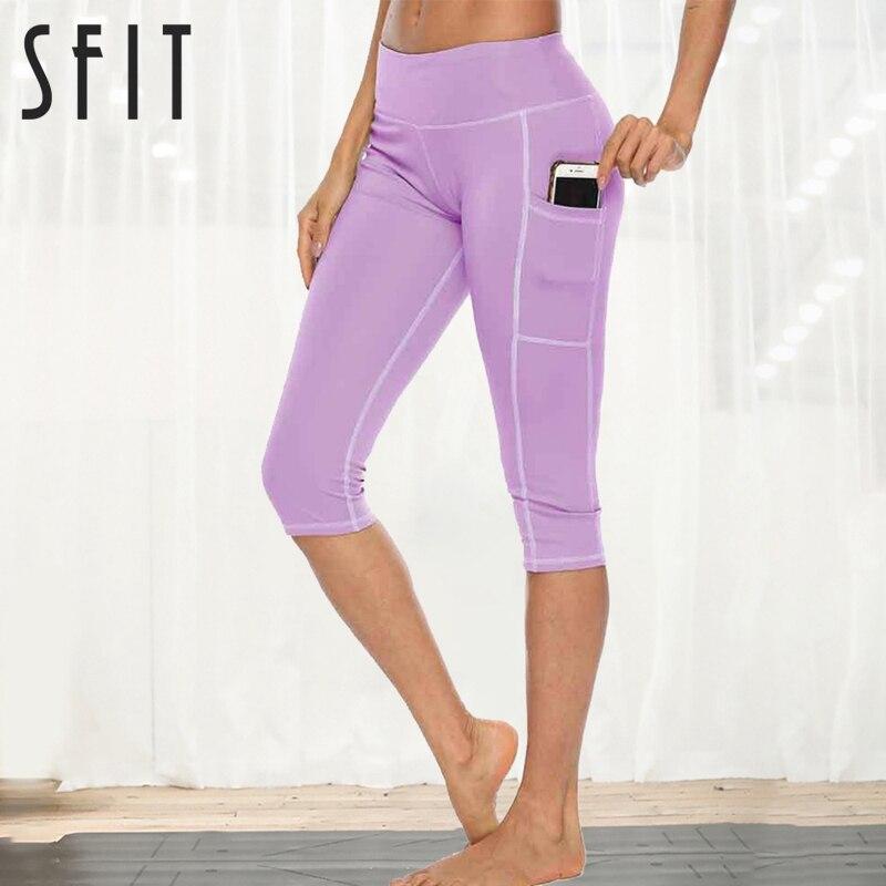 Sfit Woman Workout Capri Fitness Leggings With Side Pocket High Waist Running Yoga Pants Sportwear Legging Sport Femme Pants