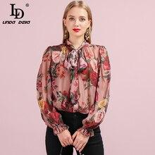 Camisa de seda de otoño a la moda con estampado Floral y Manga mariposa para mujer