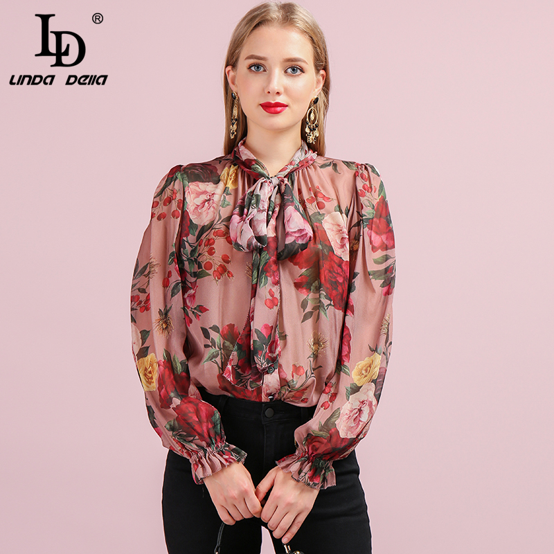 LD LINDA DELLA Runway Fashion Autumn Silk Shirt Women's Butterfly Sleeve Floral Printed Bowknot Elegant Vintage Loose Blouse
