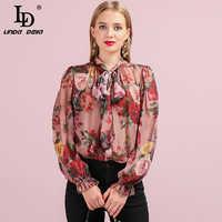 LD LINDA DELLA Runway moda jesień jedwabna koszula damska Butterfly rękawem Floral wydrukowano Bowknot eleganckie stylu Vintage luźna bluzka