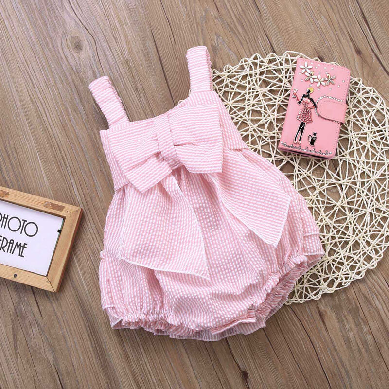 Sweet Infant Baby Girls Large Bowknot Summer Sunsuit Clothes