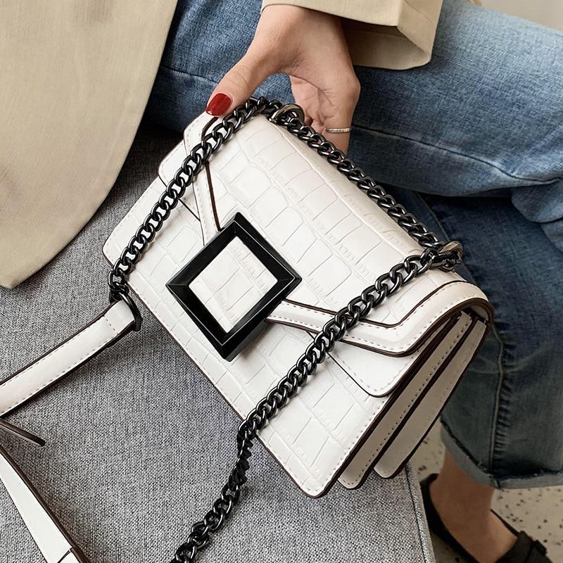 Stone Pattern Square Crossbody Bag 2020 Fashion New Quality PU Leather Women's Designer Handbag Chain Shoulder Messenger Bag