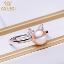 ASHIQI Real 925 Sterling Silver Ring for Women Natural Freshwater Pearl Jewelry Gift
