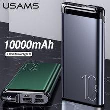 USAMS 10000mAh Power Bank Dual Usb Type C Ports Powerbank For Xiaomi 10/iphone 11/Huawei P40 Mobile External Battery Power bank
