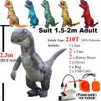 Disfraz de Velociraptor adulto Jurassic, disfraz inflable de T REX Raptor, disfraz Cosplay de dinosaurio, fiesta de Halloween, disfraz de REX para mujeres y hombres