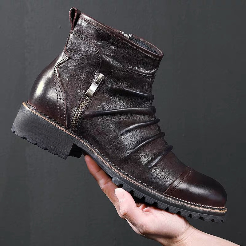 Fashion Retro Men/'s Ankle Leather Boots Lace Ups Motocycle Knight Boots Side Zip