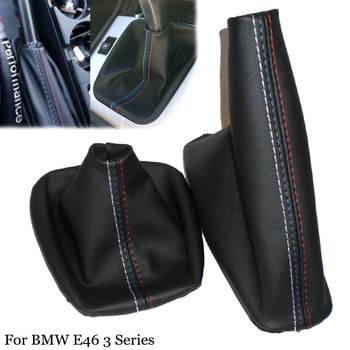 Leather Auto Gear MT Stick Shift Knob Lever Coller Gaiter Boot Handbrake Cover Set Fit For BMW E46 3 Series E36 M3(1991-1998) image