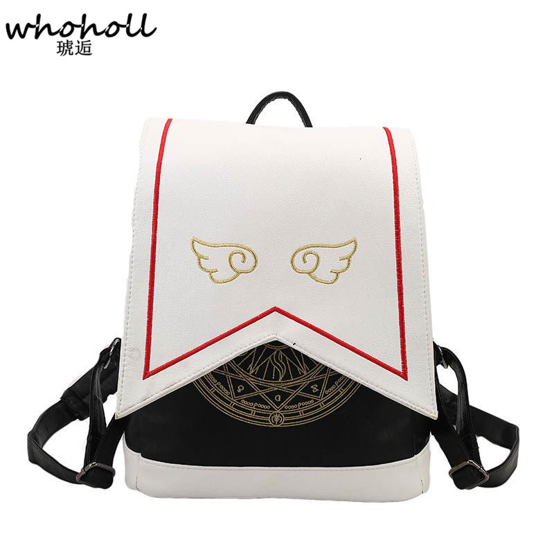 Kawaii Backpack PU Women Backpack With Angel Wings Anime Card Captor Sakura Mini Cardcaptor Sakura Printing School Bags Sac 8446