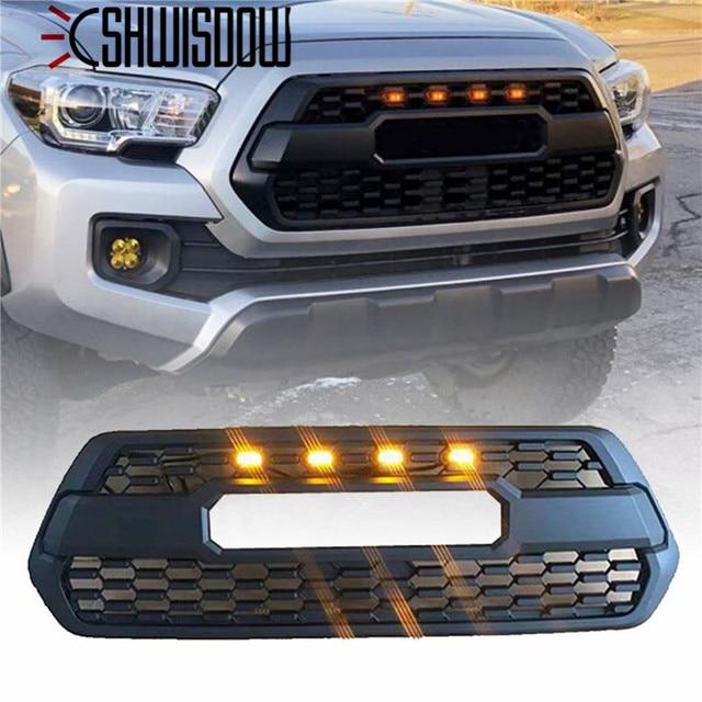 4PCS 앰버 연기 렌즈 앰버 LED 프론트 그릴 라이트 어셈블리 (배선 하네스 키트 포함) 2016 up Toyota Tacoma w/TRD Pro Grill