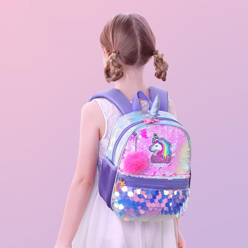 Sunveno Reversible Sequin Bag Backpack Unicorn Girls School Bags Kindergarten Schoolbag Best Gift For Girls