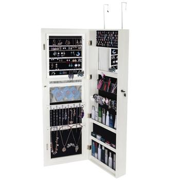 Mirror Jewelry Cabinet Full Screen Display jewelry Armoire Organizer,47.2″H Lockable Wall/Door Mounted Makeup Box Pure White
